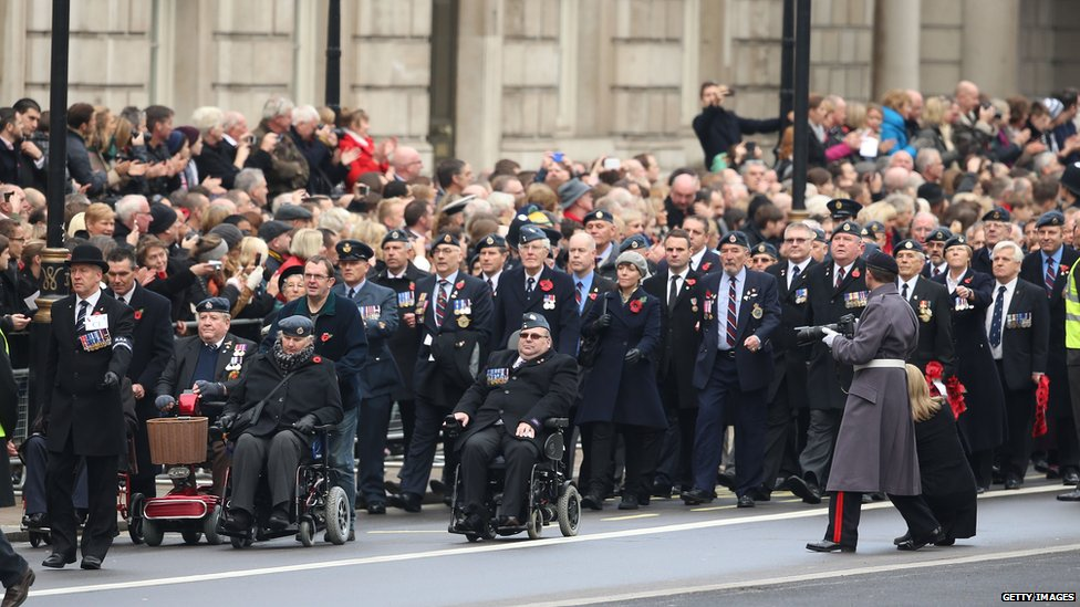 Veterans assemble for the annual Remembrance Sunday Service at the Cenotaph on Whitehall