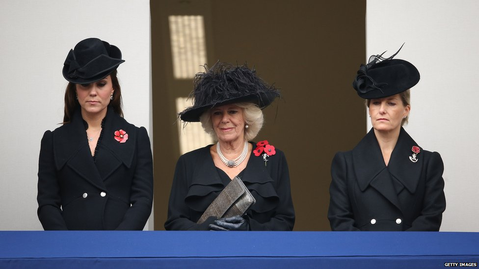 Catherine, Duchess of Cambridge, Camilla, Duchess of Cornwall, and Sophie, Countess of Wessex