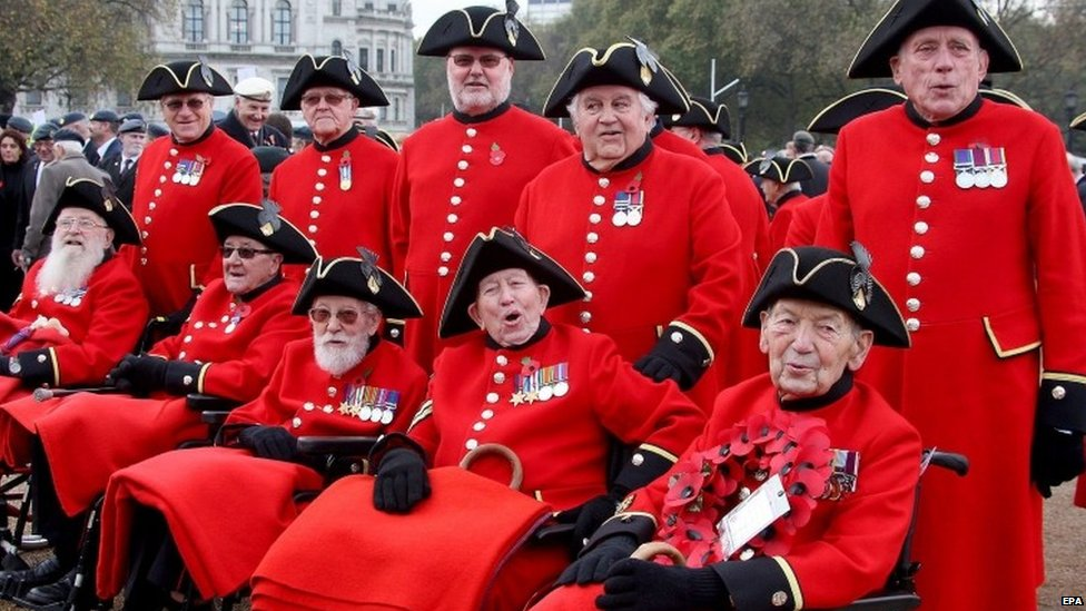 Royal Hospital Veterans at Remembrance Sunday service in London