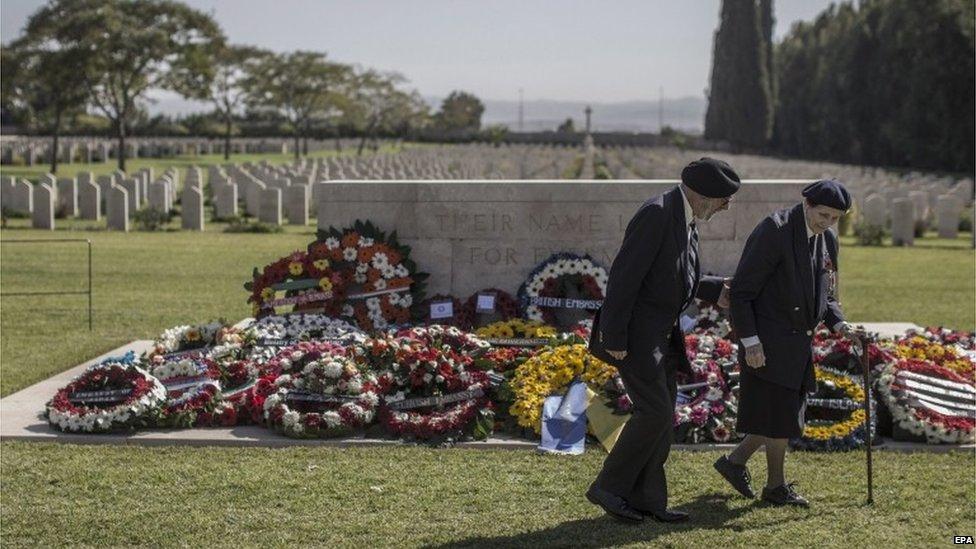 British war veterans at a memorial to the missing in Ramle, Israel