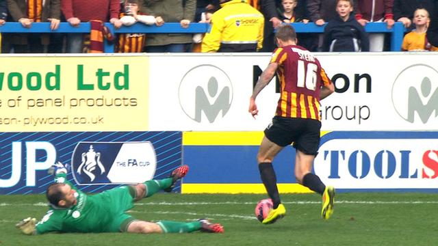 Jon Stead equalises for Bradford against Halifax Town