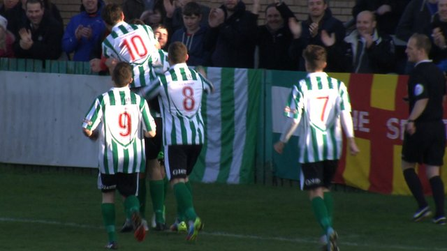 A fourth-minute penalty from Robbie Dale gives Blyth Spartans a 1-0 lead against Altrincham