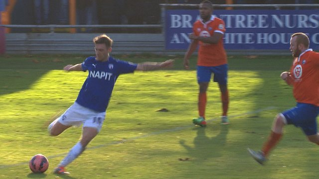 Jay O'Shea gives Chesterfield a 2-0 lead against Braintree