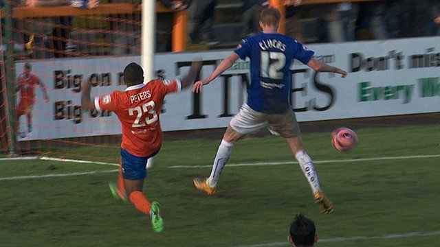 Sam Clucas putting the Spireites 3-0 up at Braintree just before the break.