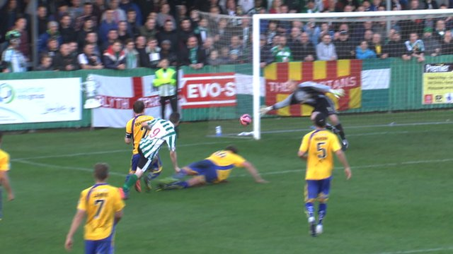 Danny McGuire gives Blyth Spartans a 2-0 lead against Altrincham