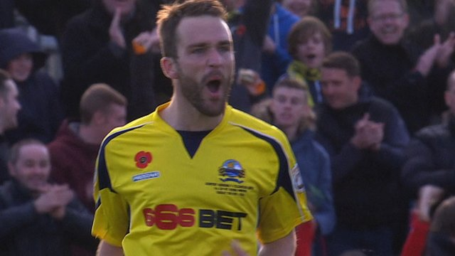 Justin Bennett gives Gosport a lifeline against Colchester with his second of the afternoon.