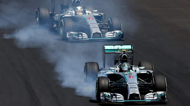 Nico Rosberg locks up under braking