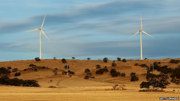 Wind turbines on a hill in Waterloo, Australia - 18 April 2013