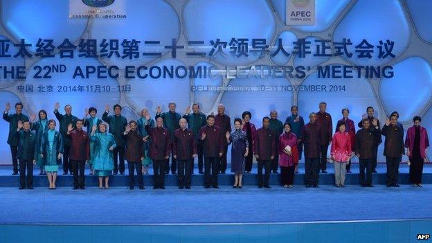 Leaders at the Apec summit in Beijing, 10 November 2014