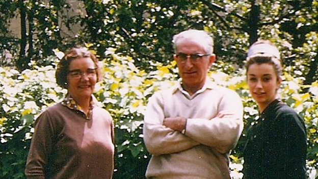 Gay Search (right) with her parents in the garden of 1 Courtfield Gardens