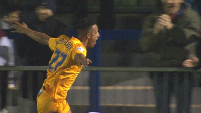 Callum Robinson turns in a cross from Paul Gallagher to grab both his and Preston's second goal of the night against Havant & Waterlooville.