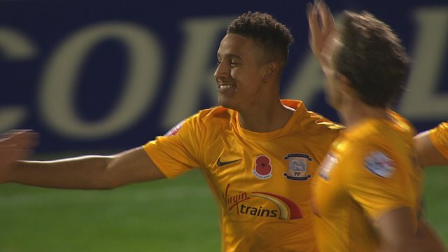 Callum Robinson's penalty secures his hat-trick and puts Preston 3-0 up at Havant & Waterlooville