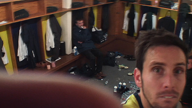 Havant & Waterlooville's Brian Stock turns away the dressing room television camera after being sent off in the FA Cup