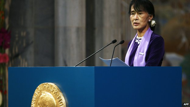 Myanmar democracy icon Aung San Suu Kyi delivers her Nobel speech at the Nobel ceremony in Oslo's City Hall on 16 June, 2012