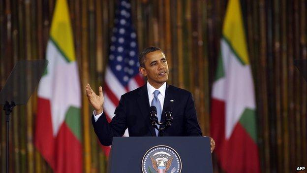 US President Barack Obama speaks at the University of Yangon in Yangon on 19 November, 2012