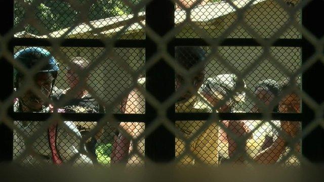 People looking into morgue