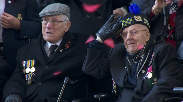 Close up of two veterans at the ceremony in Ypres