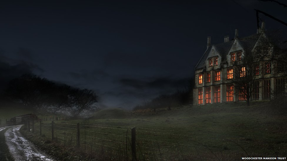 Woodchester Mansion at night