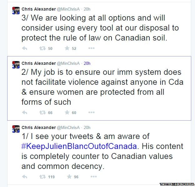 Tweets from Canada's Citizen and Immigration Minister Chris Alexander