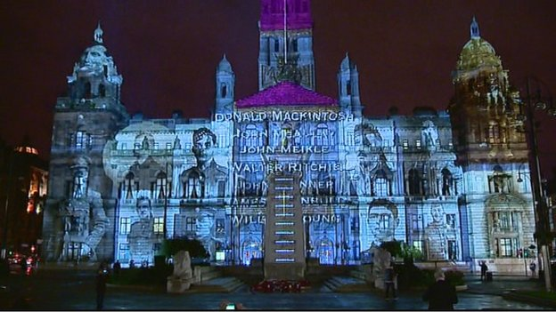 The names of every Glaswegian who fell during WWI are being beamed on to the Cenotaph