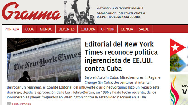 The front page of the Cuban newspaper website Granma