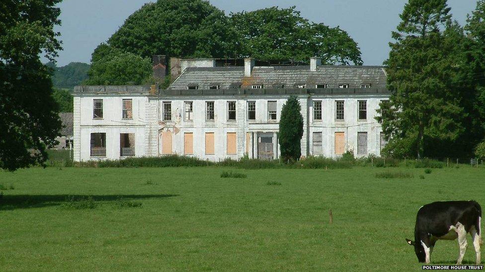 Poltimore House in Devon, now derelict