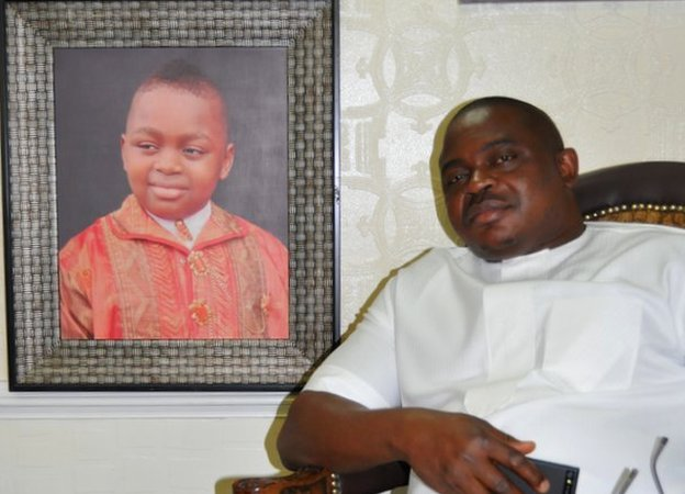 Former Delta warlord, General Boyloaf pictured in his home in Abuja, Nigeria