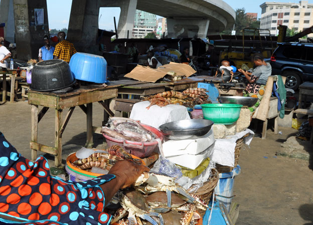 A fish market in Lagos, Nigeria