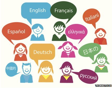 Graphic of speech bubbles in different languages