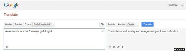 Google translate result