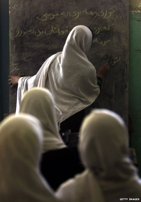 Afghan pupils attend class at a girls school in Kabul on September 20, 2010.