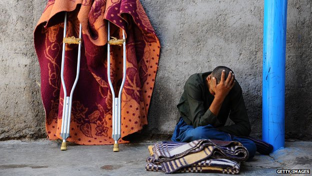 A patient sits in the only mental health rehabilitation centre in the city of Herat