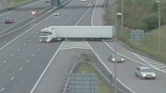CCTV of lorry performing the manoeuvre