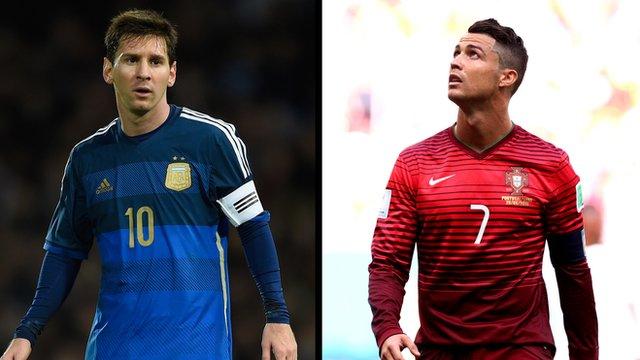 Lionel Messi v Cristiano Ronaldo on the world stage