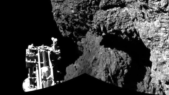 Philae probe's leg on comet (ESA)