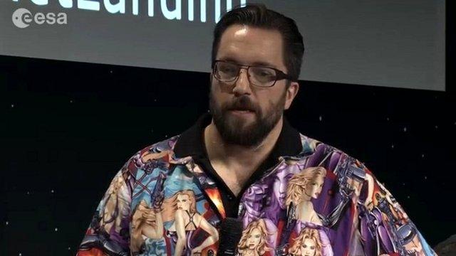 Dr Matt Taylor wearing the offending shirt