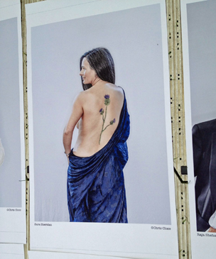 Sara Sheridan's picture on display at the Edinburgh Book Festival