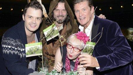 Barney Harwood, Robin Hood, Su Pollard and David Hasselhoff