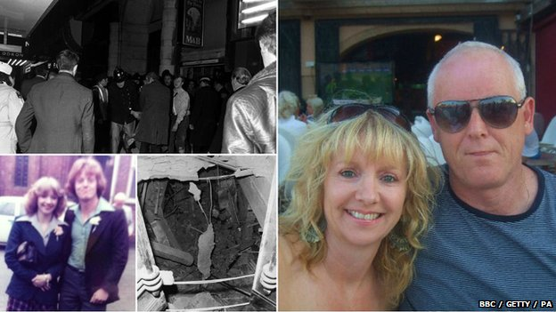 Les Robinson with his wife Ros, photos also show damage of The tavern in the Town in Birmingham