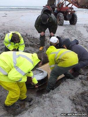 Excavating prehistoric basket