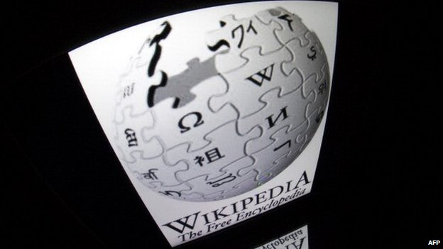 A tablet computer showing the Wikipedia website