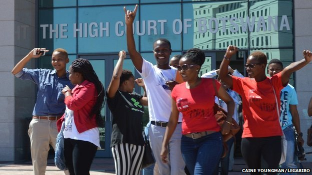 People rejoicing outside the court in Gaborone after the judgment was handed down that it was unconstitutional to block Legabibo - 14 November 2014