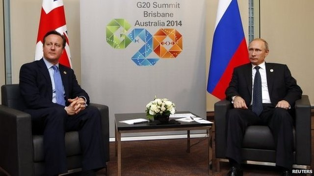 Mr Cameron and Mr Putin were photographed before a private meeting