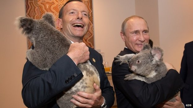 Koala diplomacy? Australia's Prime Minister Tony Abbott and Vladimir Putin had this photo op, despite tensions