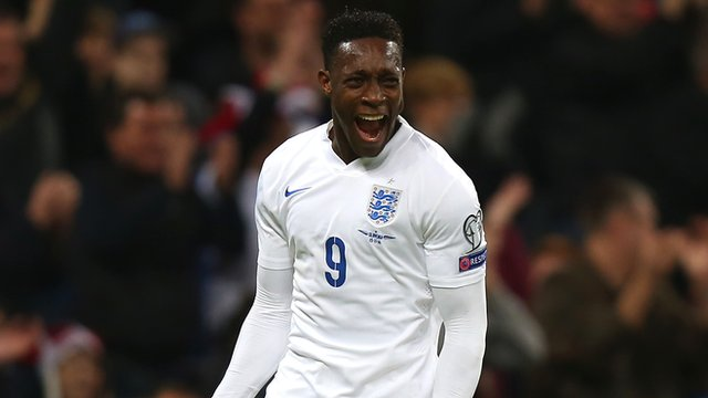 England striker Danny Welbeck celebrates
