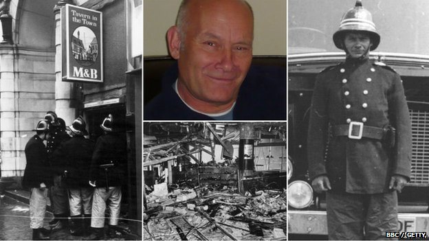 Photos of Alan Hill and fire crews attending to the bomb in 1974