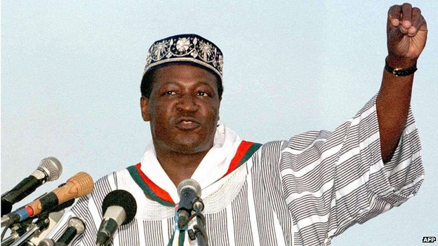 Burkina Faso President Blaise Compaore speaks at an election rally in 1998.