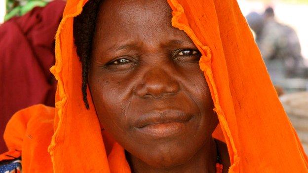 A Nigerian woman who has fled to Cameroon because of attacks by Boko Haram (November 2014)