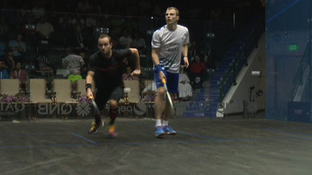 Gregoire Marche and Nick Matthew in action