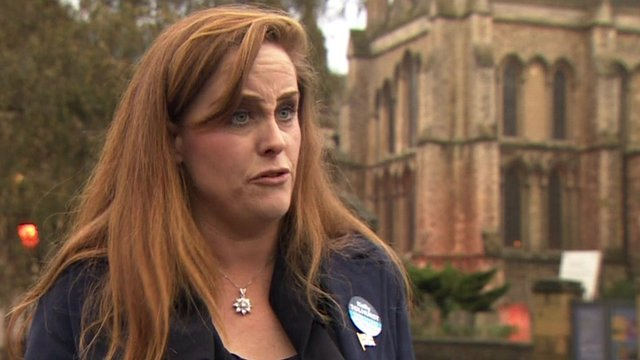 Kelly Tolhurst, the Conservative candidate, speaks to Norman Smith
